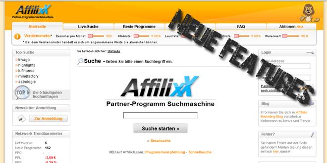 AffilixX.com mit erweitertem Portfolio und neuer Browser-Schnellsuche