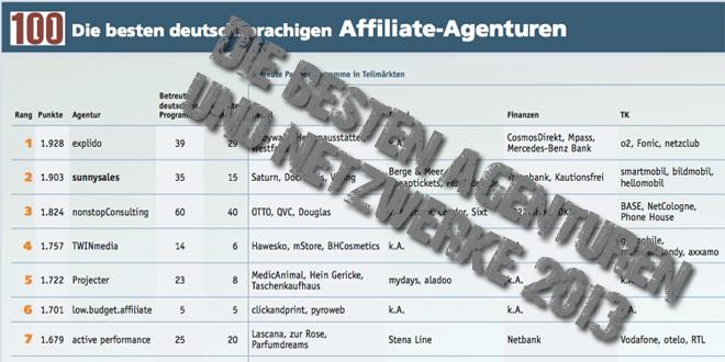 Besten Affiliate-Agenturen und -Netzwerke 2013
