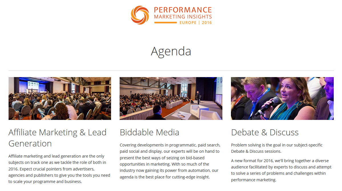 Perfromance Marketing Insights 2016 Agenda